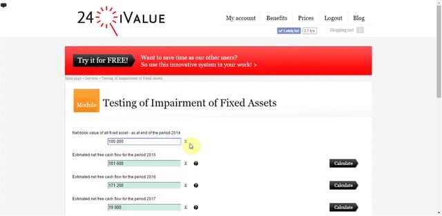 Testing of Impairment of Fixed Assets