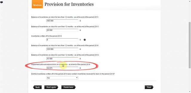 Provision for Inventories